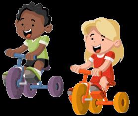 Kinder auf Dreirad