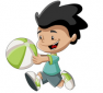 Junge spielt mit Ball